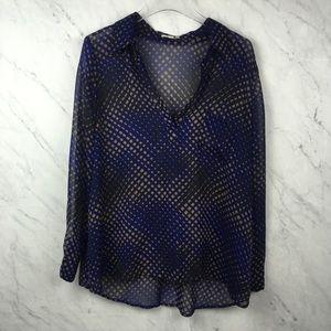 Pleione Blue Print Semi Sheer Blouse, Size L